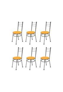 Kit 6 Cadeiras Baixas 0.236 Redonda Cromado/Laranja - Marcheli