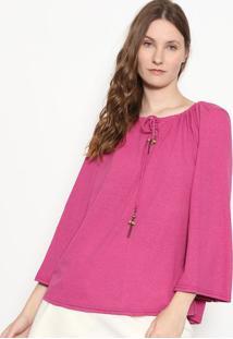 Blusa Em Flam㪠Com Amarraã§Ã£O - Pink - Enfimenfim