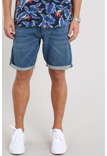 Bermuda Jeans Masculina Slim Com Barra Dobrada Azul Médio