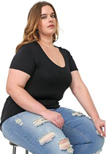 Blusa Lnd Lunender Mais Mulher Plus Lisa Preta