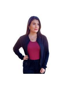 Jaqueta Feminina Bomber Moletinho Zíper Algodão