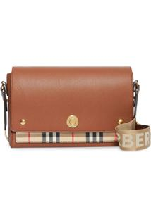 Burberry Leather And Vintage Check Note Crossbody Bag - Marrom