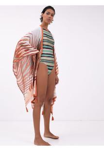 Saída De Praia Kimono Estampa Folhagem