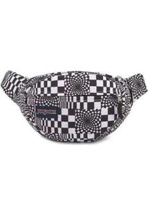Pochete Shoulder Bag Jansport Fifth Avenue 2,5 Litros - Unissex-Preto+Branco