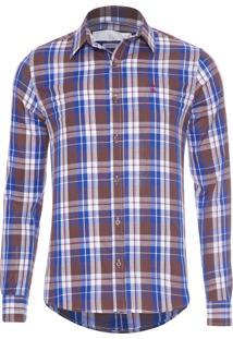 Camisa Masculina Xadrex - Azul