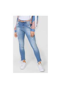 Calça Cropped Jeans Morena Rosa Slim Giane Azul