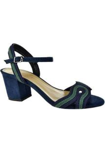 Sandália Salto Alto Kult Lace Feminina - Feminino-Marinho+Verde