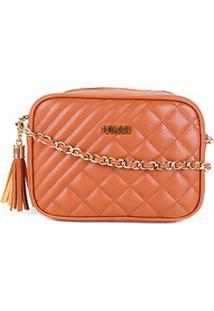 Bolsa Colcci Mini Bag Matelassê Alça Corrente Feminina - Feminino-Caramelo