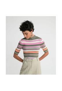 Blusa Em Tricô Listrado Com Golinha Alta E Manga Curta
