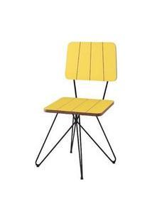 Cadeira Costinha Amarela Base Estrela Preta 80Cm - 62077 Amarelo