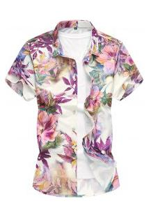Camisa Masculina Slim Floral Print - Roxo