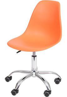 Cadeira Eames Dkr- Laranja & Prateada- 93X47X41Cm
