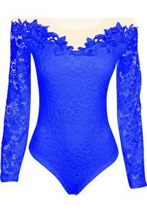 Body Outletdri Ml Renda Tule Azul