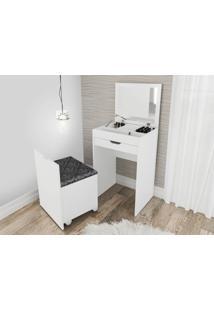 Penteadeira Compacta Com Espelho, Gaveta E Puff Baú Tecno Mobili - Branco/Floral Marrocos - Multistock