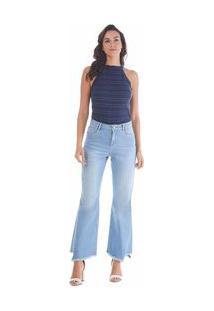 Calça Maria.Valentina Cropped M. Luiza Cós Intermediário Com Recorte Jeans