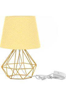 Abajur Diamante Dome Amarelo/Bolinha Com Aramado Amarelo