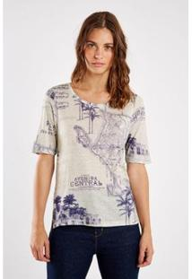 Camiseta Sacada Malha Est Rio Bello Feminina - Feminino-Off White+Azul