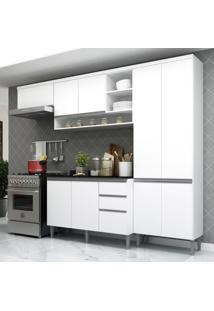 Cozinha Completa Compacta Com Armã¡Rio E Balcã£O Com Tampo Hollywood Multimã³Veis Branca - Branco/Incolor - Dafiti