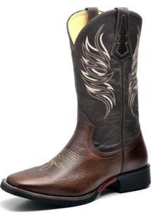 Bota Couro Country Texana Top Franca Shoes Masculino - Masculino-Marrom