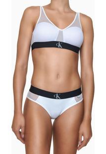 Top Sutiã Triângulo Com Bojo E Tule Branco Underwear Calvin Klein - 36B