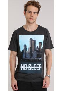 "Camiseta ""No Sleep"" Cinza Mescla Escuro"