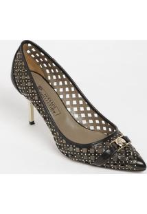 e39bcc89a8 ... Sapato Tradicional Em Couro Com Recortes - Preta - Sversace Collection