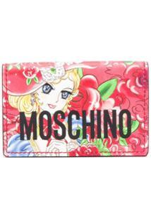 Moschino Carteira Com Logo E Estampa De Rosa - Vermelho