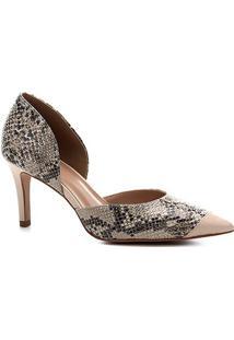 Scarpin Shoestock Couro Snake Salto Alto - Feminino-Off White