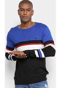 Suéter Listrado Triton Masculino - Masculino-Preto+Azul