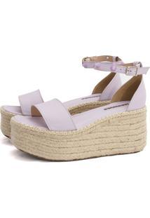 Sandália Flatform Joana Its Shoes De Corda Lilas