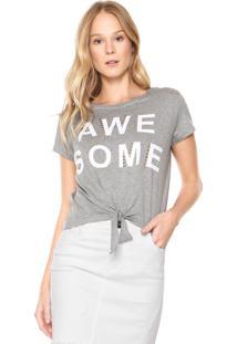Camiseta Cropped Fiveblu Nó Cinza