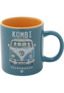 Mini Caneca Porcelana Vw Kombi Classic Azul 140 Ml