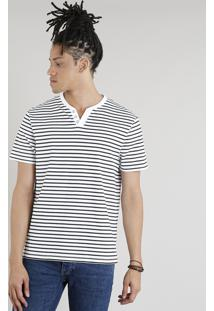 Camiseta Masculina Básica C2C Listrada Manga Curta Com Botões Branca