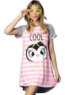 Camisola Manga Curta Visco Pinguim Estrela Puket - Feminino-Rosa