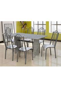 Conjunto De Mesa Com 6 Cadeiras Pietra Craqueado Preto E Linho