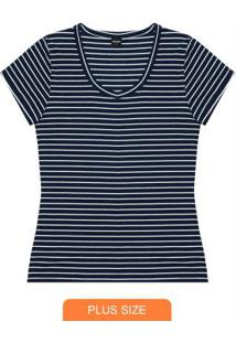 Blusa Listrada Feminina Azul