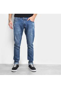 Calça Jeans Fatal Skinny Destroyed Masculina - Masculino-Azul