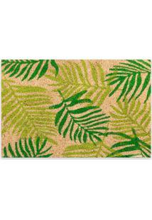 Capacho Retangular Em Fibra De Coco Folhas 40X60Cm Verde