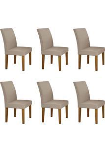 Conjunto Com 6 Cadeiras Olímpia Imbuia Mel E Veludo Palha