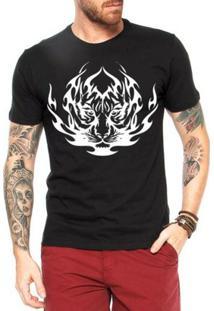 Camiseta Criativa Urbana Tigre Tribal - Masculino-Preto