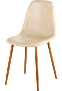 Cadeira Jacob Assento Em Pu Bege Com Pes Palito Cor Nogueira - 44993 Sun House