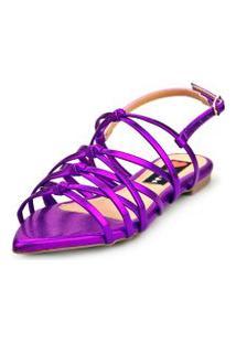 Sandalia Love Shoes Rasteira Bico Folha Trançado Nó Metalizado Roxo