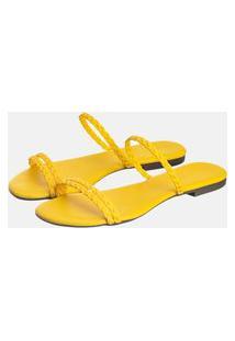 Sandália Rasteira Feminina Bico Quadrado Amarelo