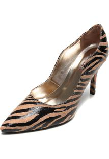 Scarpin Amber Zebra Bege