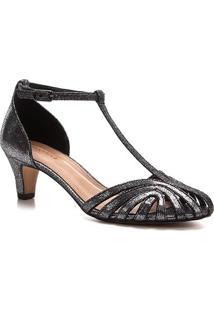 Sandália Shoestock Tiras Metalizadas Feminina - Feminino-Grafite