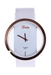 Relógio Feminino Dalas Quartzo Pulseira Couro Pu - Branco