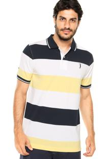 Camisa Polo Aleatory Tricolor Branca/Azul Marinho