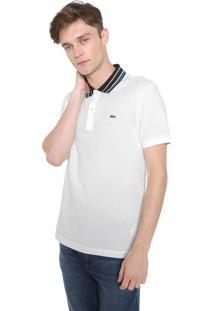 Camisa Polo Lacoste Slim Listras Off-White