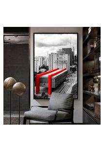 Quadro 150X100Cm Masp Sáo Paulo Paulista Vidro Cristal E Moldura Preta Decorativo Interiores - Oppen House