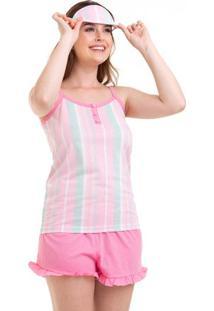 Pijama Short Doll Alcinha Listrado Com Tapa-Olhos Com Algodão Luna Cuore